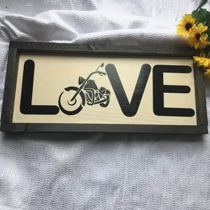 Hand Crafted | Motorcycle Love Wooden Sign Decor